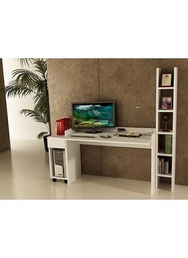Sanal Mobilya Sirius Dolaplı Kitaplıklı Çalışma Masası 120-Dk-2A Beyaz